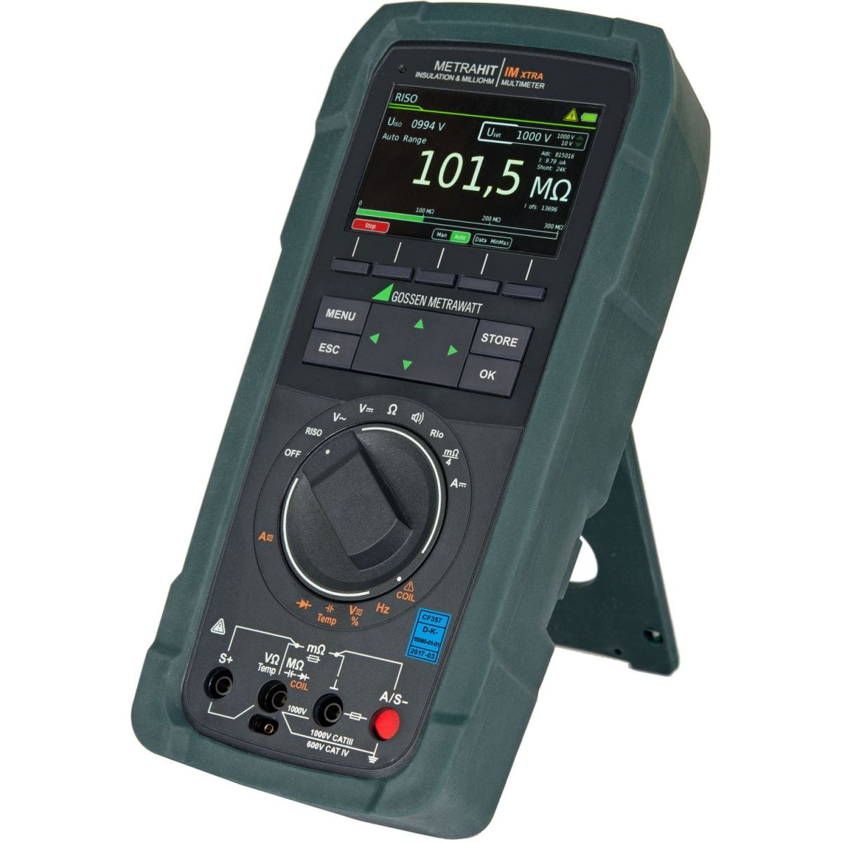 MetraHIT IM-XTRA: All-in-One: Multimeter en Milliohmmeter, Isolatieweerstandsmeter, Coil Tester en Data Logger
